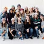 A group of 16 girls wearing Love Your Melon hats pose for a picture at a Love Your Melon Photoshoot. Emma was a superhero recipient for Love Your Melon. LYM is an organization dedicated to putting a hat on every child battling cancer. However, and thankfully Emma does not have cancer. The organization recognized her battle with Mast Cell Disease.