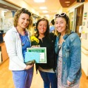 Kelsey, (Emma's nurse) and Melissa (Emma's favorite Tech) pose for a picture at The Daisy Foundation Awards Ceremony at Ascension Hospital, Racine WI.