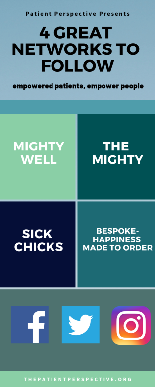 4 Great Networks to follow including Mighty Well, The Mighty, Sick Chicks, and Bespoke- Happiness Made to Order